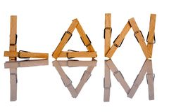 Law. The word law written with clothes pins stock photos