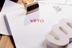 Law act with red veto stamp. Stock Photos