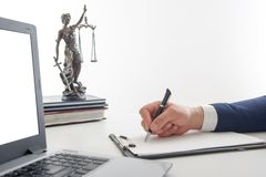 Law, advice and Legal services concept. Lawyer and attorney having team meeting at law firm. Law, advice and Legal services concept. Lawyer and attorney having Stock Image