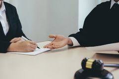 Lawyer and attorney having team meeting at law firm. royalty free stock images