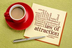 Law of attraction word cloud. On a paper note with cup of coffee royalty free stock images