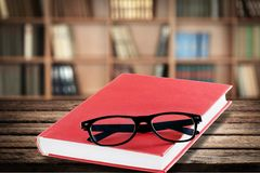 Law Authority. Book Glasses Instruction Manual Red Instructions Isolated stock photo