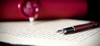 Law background theme. Fountain pen and handmade paper Stock Images
