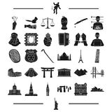 Law, Bank, police and other web icon in black style. travel, history, rest, icons in set collection. Royalty Free Stock Photo