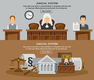 Law Banner Set. Law horizontal banner set with judical system elements isolated vector illustration Stock Images