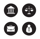 Law black icons set. Courthouse and scales of justice circle symbols. Jurisprudence and government system. Lawyer and briefcase white silhouette illustrations Stock Photo