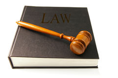 Law book. Judges court gavel on a law book Royalty Free Stock Photo