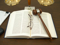 Law Book. View of a judge's desk royalty free stock images