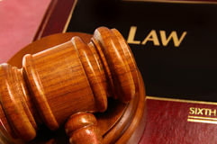 Law book. And judges gavel closeup from above Stock Photography