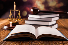 Law book concept. Mallet, legal code and scales of justice. Law concept, studio shots Stock Photo