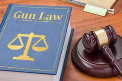 Law book with a gavel - Gun law stock images