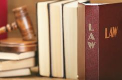 Law book with judge gavel Royalty Free Stock Images
