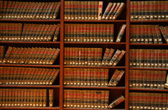 Law book library. Law books in the book shelf in library Stock Image
