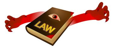 Law book. Vector illustration of evil law book Stock Image