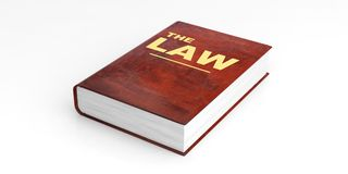 Law book on white background. 3d illustration. Law book  on white background. 3d illustration Royalty Free Stock Photo