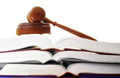 Law books. Legal gavel on a stack of law books Stock Photography
