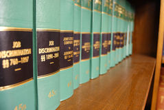 Law Books. Close up of several volumes of law books of codes and statutes Stock Photo