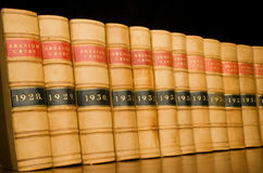 Law Books. A row of legal case reports Stock Photos