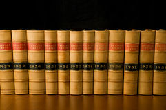 Law Books. A row of legal case reports Stock Images