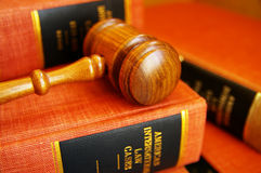 Law books. Judges gavel on a pile of law books Royalty Free Stock Image