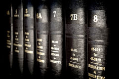 Law Books. Close up of several volumes of law books of codes and statutes Royalty Free Stock Photo