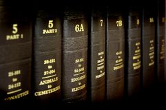 Law Books. Close up of several volumes of law books of codes and statutes Royalty Free Stock Photography