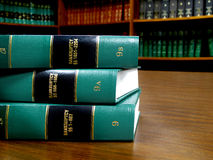 Law Books on Bankruptcy. Close up of several volumes of law books of codes and statutes on bankruptcy Stock Photos