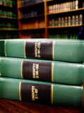 Law Books on Bankruptcy. Close up of several volumes of law books of codes and statutes on bankruptcy Royalty Free Stock Photos