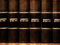 Law Books on Bankruptcy. Close up of several volumes of law books of codes and statutes on bankruptcy Stock Photography