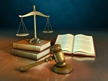 Law books and gavel Stock Photos