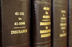 Law Books on Insurance Royalty Free Stock Images