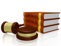 Law Books and Judge Gavel Mallet Stock Images
