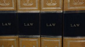 Law books. Law or legal books on a shelf Royalty Free Stock Image