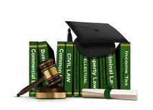 Law Books with Mortarboard and Scroll Royalty Free Stock Photo