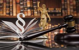 Law books, Paragraph justice concept, Court gavel. Law theme, mallet of the judge, justice scale, books, wooden desk royalty free stock images