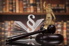 Law books, Paragraph justice concept, Court gavel. Law theme, mallet of the judge, justice scale, books, wooden desk royalty free stock photography