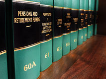 Law Books on Pensions and Retirement Funds Stock Photography