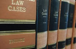 Law cases. Law books (Law Cases) on a shelf Stock Photo
