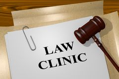 Law Clinic concept. 3D illustration of LAW CLINIC title on legal document Stock Photos