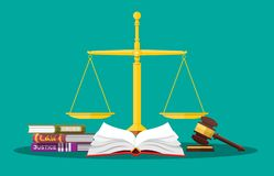 Law code books, justice scales and judge gavel. vector illustration
