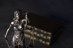 Law theme. Blind justice symbol - Themis. Law code. Statue of justice and  books. Dark  background. Place for text Stock Image