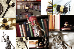 Law collage. Gavel, books and sculpture royalty free stock photo