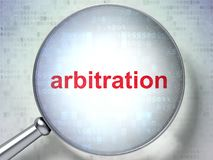 Law concept: Arbitration with optical glass. Law concept: magnifying optical glass with words Arbitration on digital background, 3D rendering Royalty Free Stock Photography