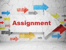 Law concept: arrow with Assignment on grunge wall background royalty free stock photos