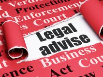 Law concept: black text Legal Advise under the piece of  torn paper. Law concept: black text Legal Advise under the curled piece of Red torn paper with  Tag Royalty Free Stock Photo