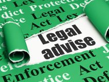 Law concept: black text Legal Advise under the piece of  torn paper. Law concept: black text Legal Advise under the curled piece of Green torn paper with  Tag Royalty Free Stock Photos