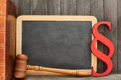 Law and Law Concept with Blackboard and Paragraph. And judge gavel royalty free stock image