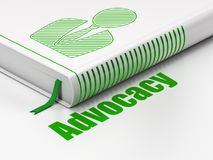 Law concept: book Business Man, Advocacy on white background. Law concept: closed book with Green Business Man icon and text Advocacy on floor, white background Royalty Free Stock Image