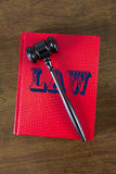 Law Concept, Book and Gavel Used by a Judge Stock Images