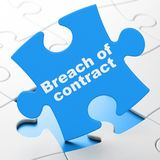 Law concept: Breach Of Contract on puzzle background. Law concept: Breach Of Contract on Blue puzzle pieces background, 3D rendering Royalty Free Stock Photo